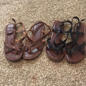 Brown and black strappy sandals!
